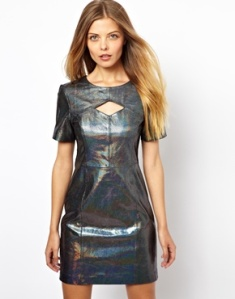 ASOS Snake Holographic Leather Cut Out Mini Dress www.asos.com